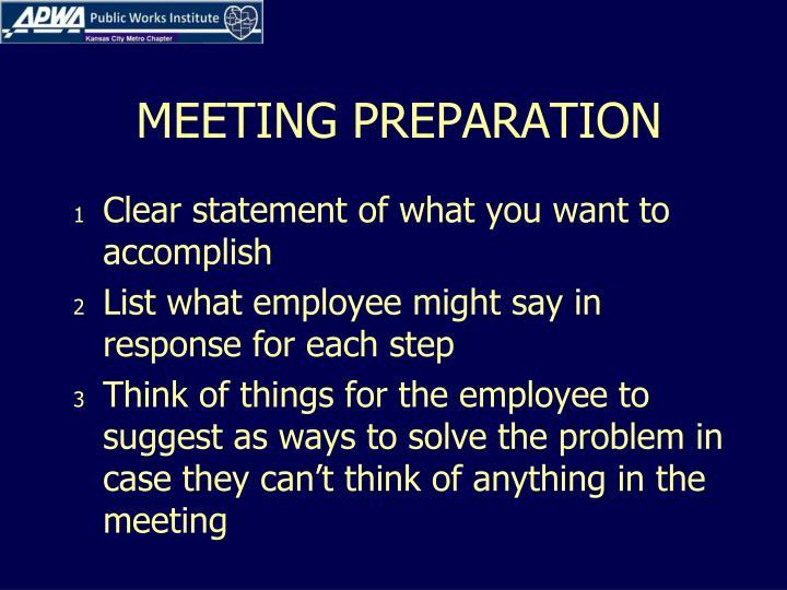 MEETING PREPARATION