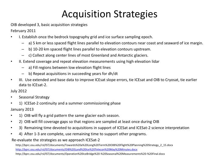 Acquisition strategies