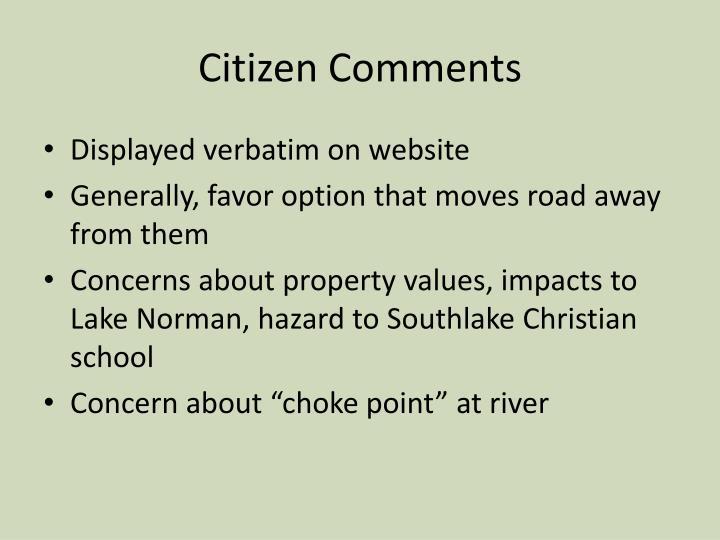 Citizen Comments