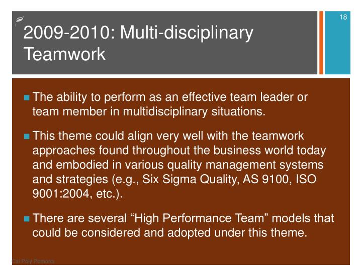 2009-2010: Multi-disciplinary Teamwork