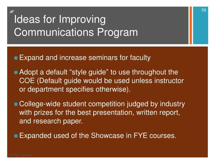 Ideas for Improving Communications Program