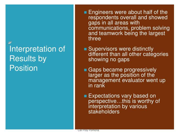Engineers were about half of the respondents overall and showed gaps in all areas with communications, problem solving and teamwork being the largest three