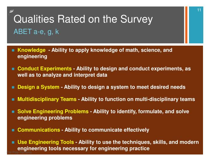 Qualities Rated on the Survey