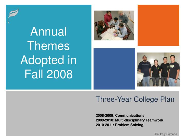 Annual Themes Adopted in Fall 2008
