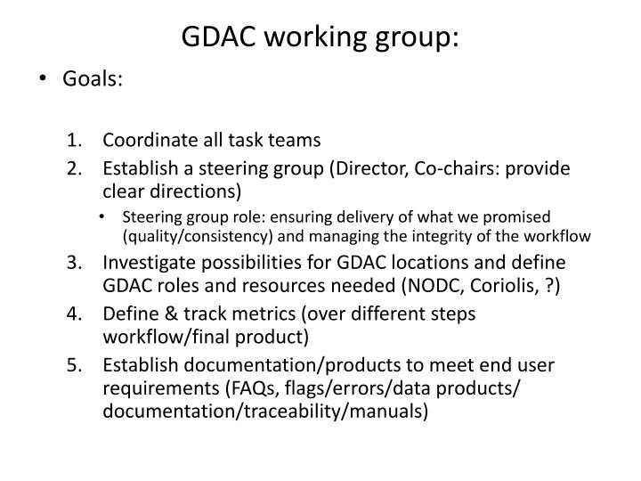 GDAC working group:
