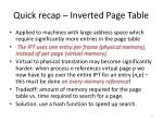 quick recap inverted page table