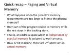 quick recap paging and virtual memory