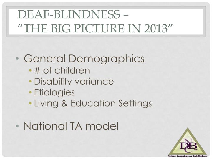 Deaf blindness the big picture in 2013