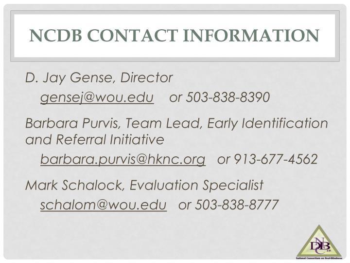 NCDB Contact Information