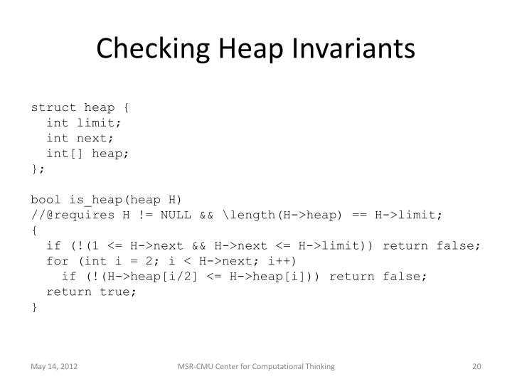 Checking Heap Invariants