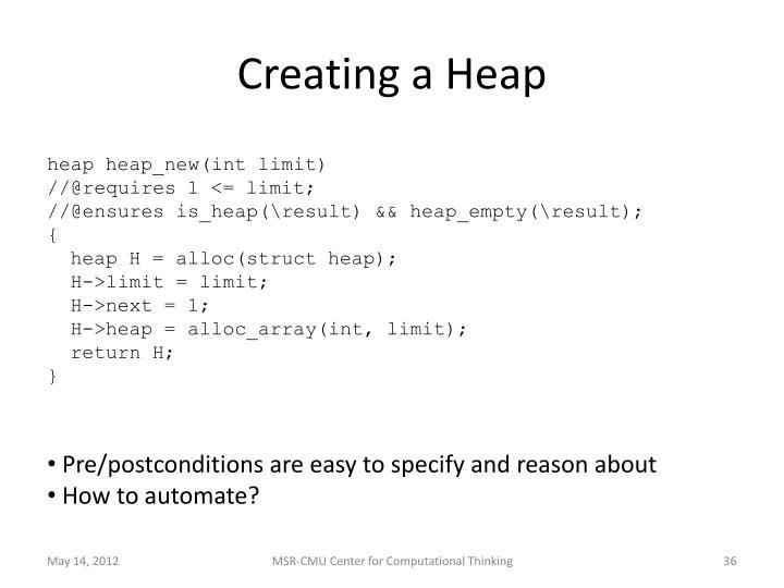 Creating a Heap
