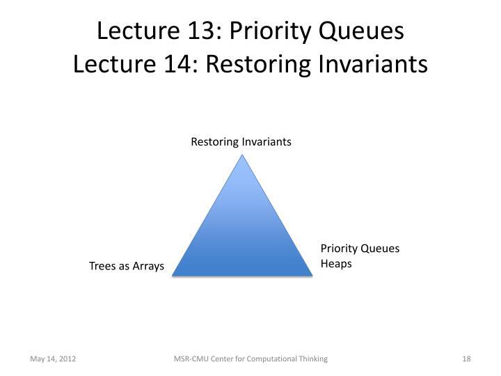 Lecture 13: Priority Queues