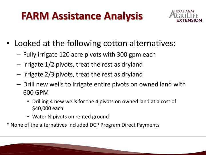 Farm assistance analysis
