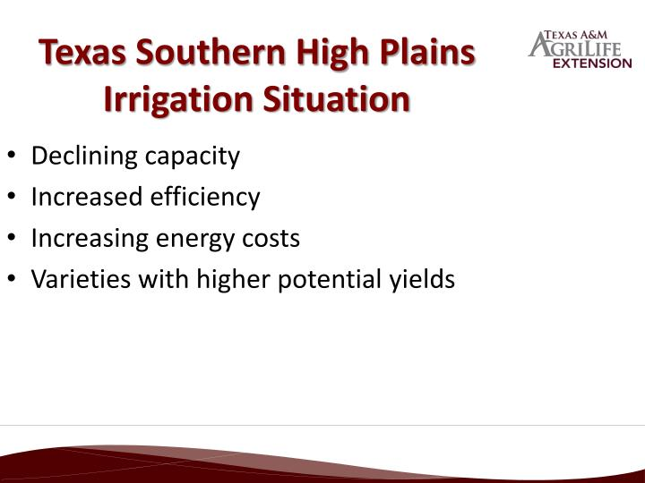 Texas southern high plains irrigation situation