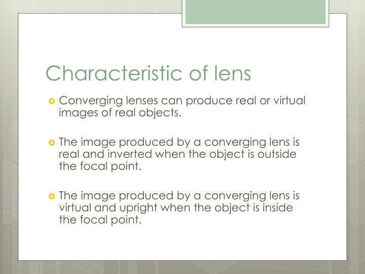 Characteristic of lens