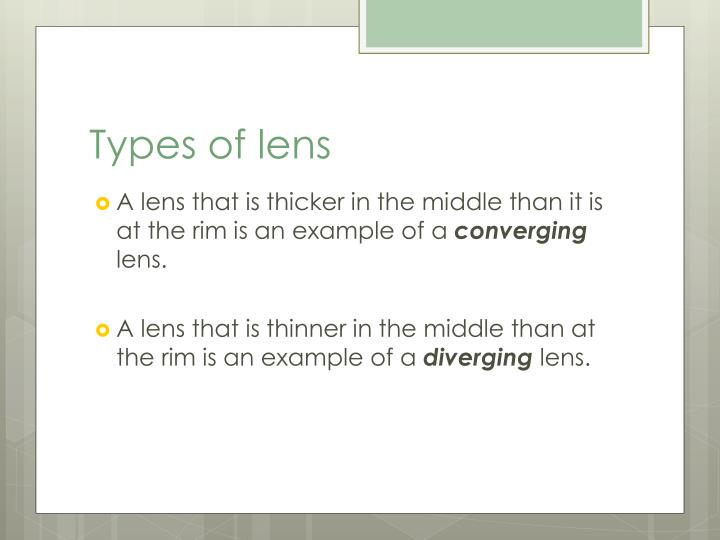 Types of lens