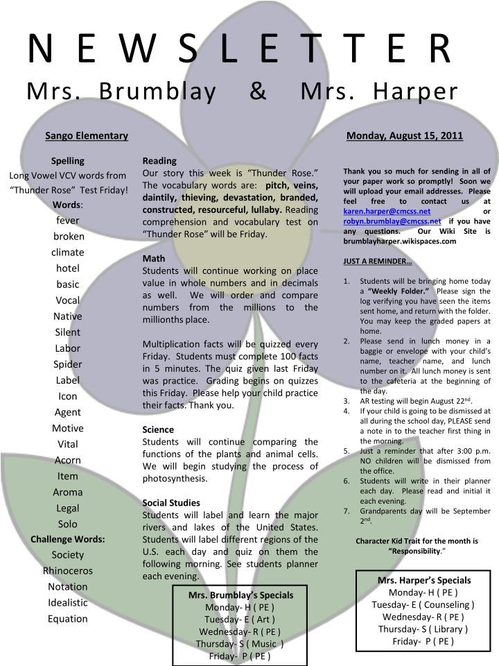 Newsletter mrs brumblay mrs harper