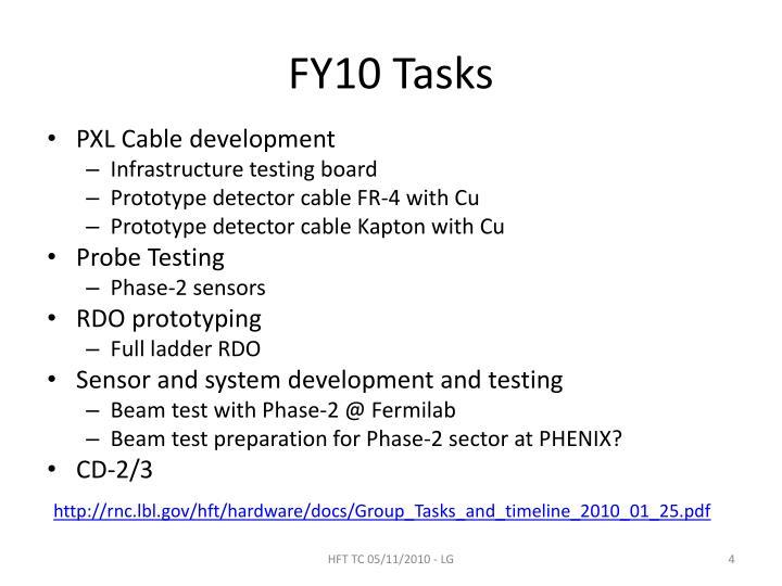 FY10 Tasks