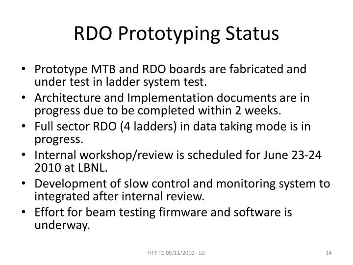 RDO Prototyping Status