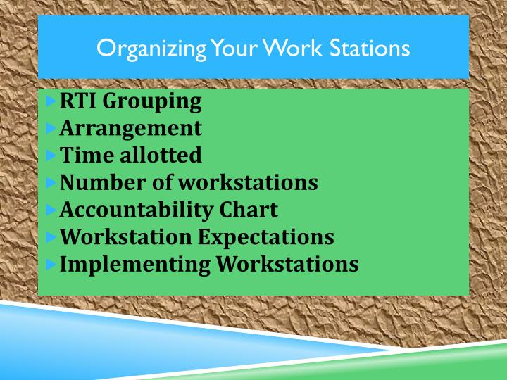 Organizing Your Work Stations