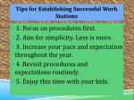 tips for establishing s uccessful w ork s tations