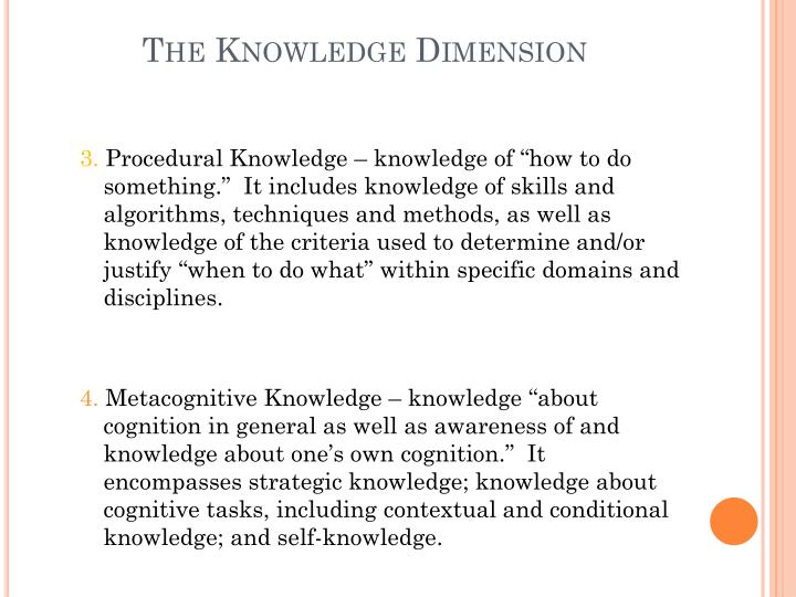 The Knowledge Dimension