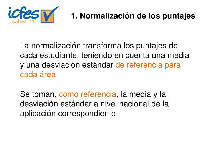 1. Normalización de los puntajes