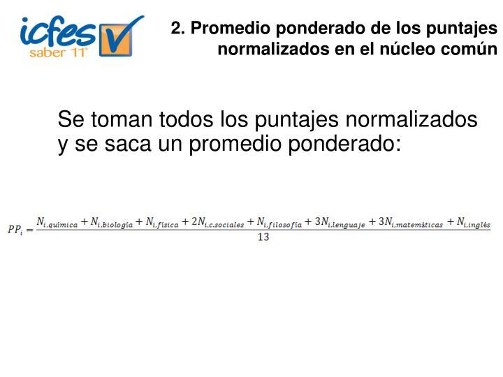2. Promedio ponderado de los puntajes normalizados en el núcleo común