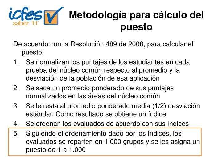 Metodología para cálculo del puesto