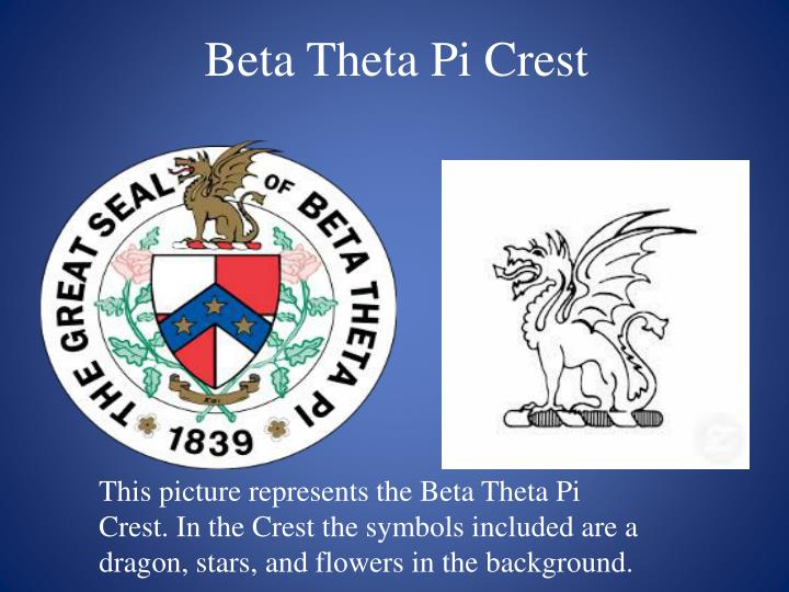 This picture represents the Beta Theta Pi Crest. In the Crest the symbols included are a dragon, stars, and flowers in the background.