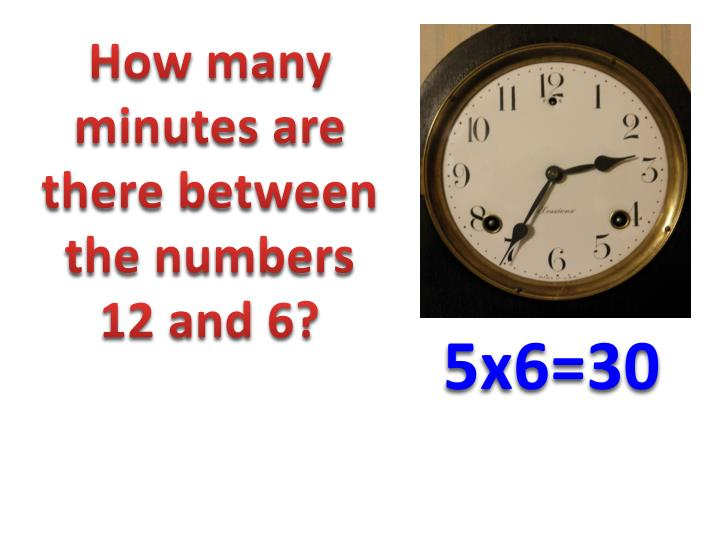 How many minutes are there between the numbers 12 and 6?