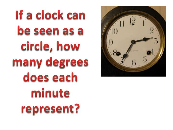 If a clock can be seen as a circle, how many degrees does each minute represent?