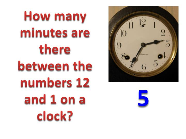 How many minutes are there between the numbers 12 and 1 on a clock?
