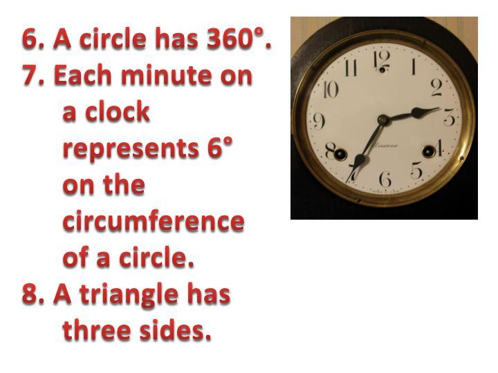 6. A circle has 360°.