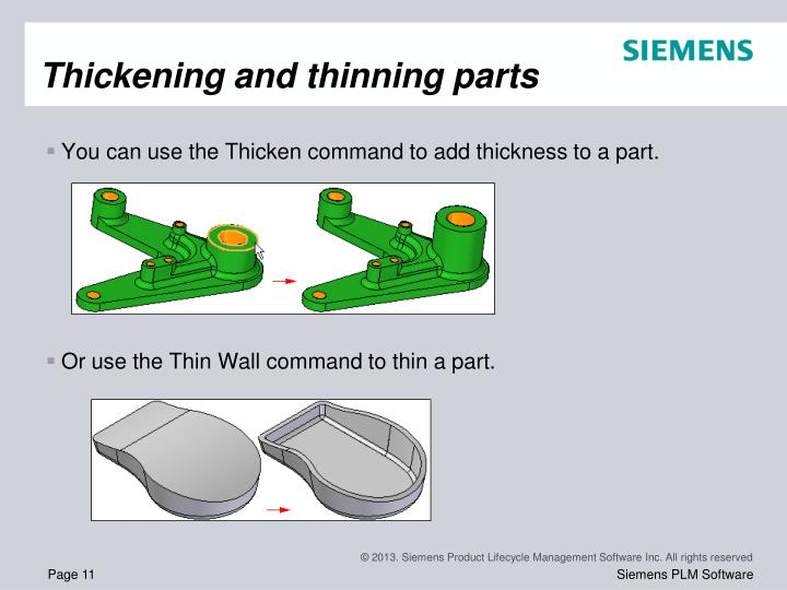 Thickening and thinning parts
