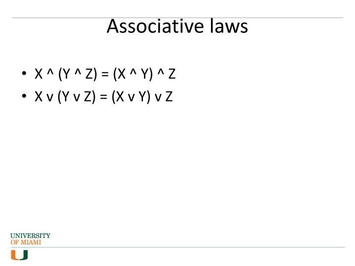 Associative laws