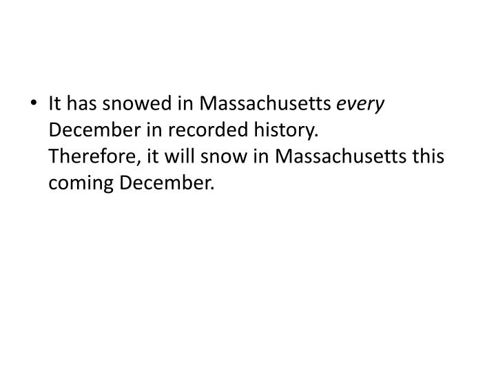 It has snowed in Massachusetts