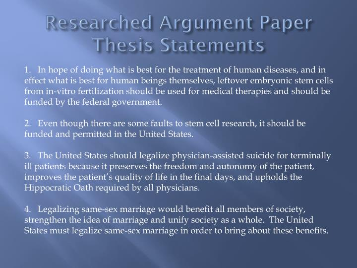 Researched Argument Paper Thesis Statements