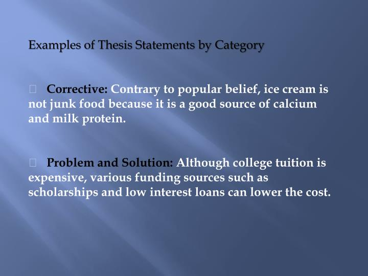 Examples of Thesis Statements by Category