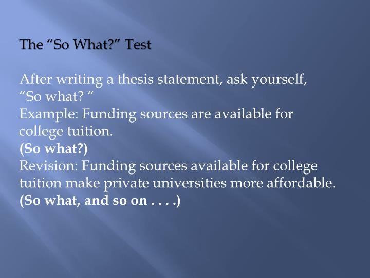 "The ""So What?"" Test"