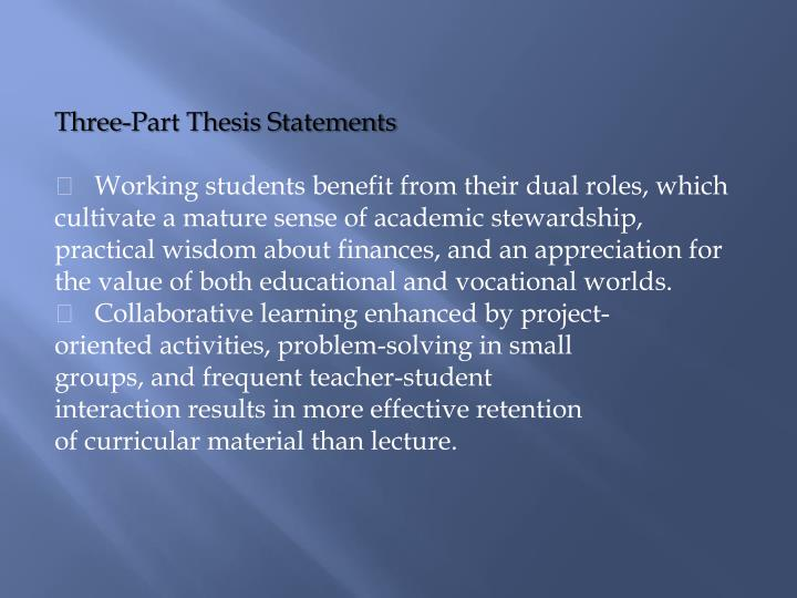 Three-Part Thesis Statements