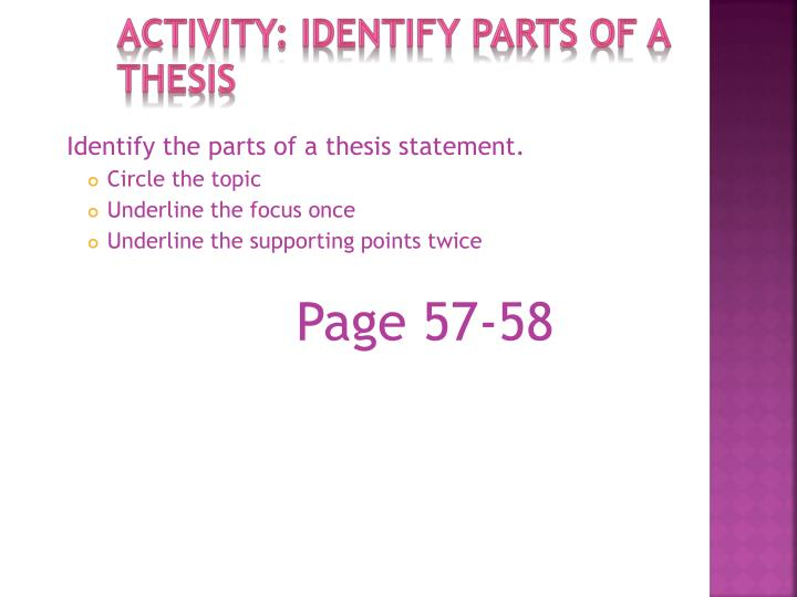 Activity: identify parts of a thesis