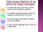 four characteristics of an effective thesis statement