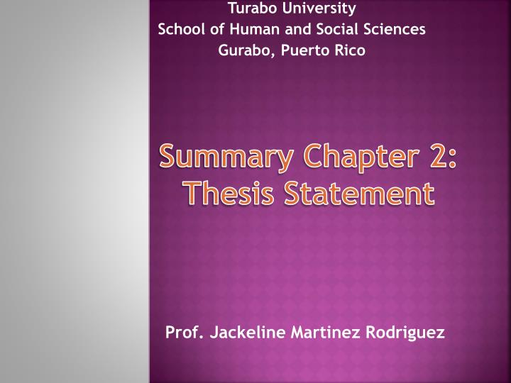 Summary chapter 2 thesis statement