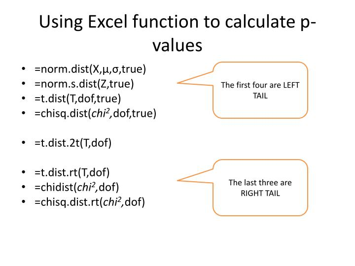 Using Excel function to calculate p-values
