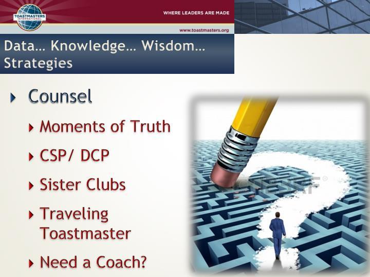 Data… Knowledge… Wisdom… Strategies
