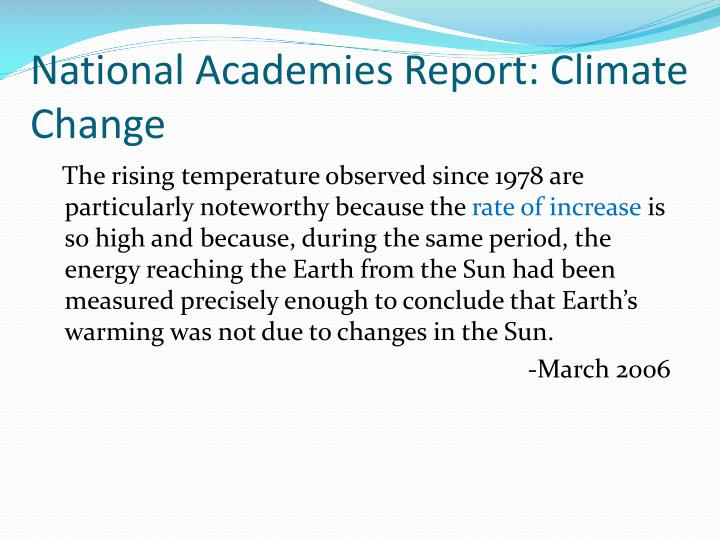 National Academies Report: Climate Change