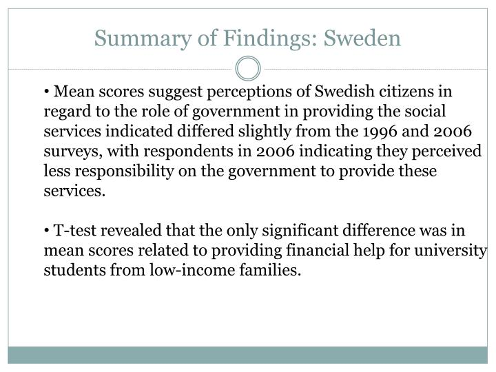 Summary of Findings: Sweden