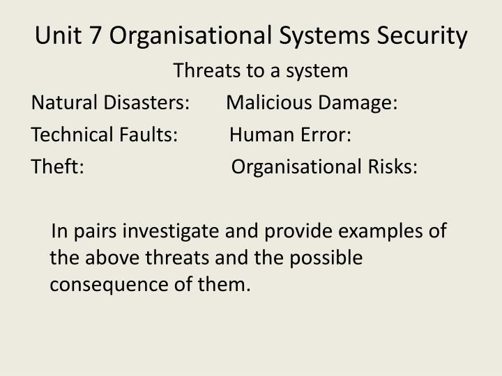 Unit 7 organisational systems security2