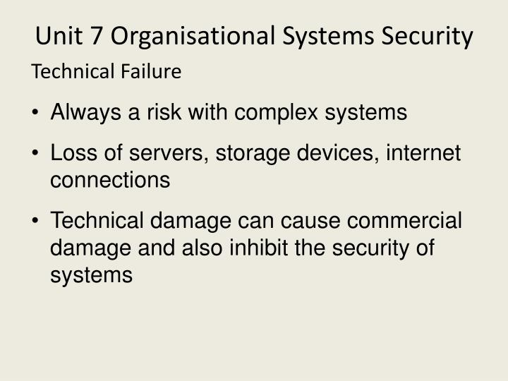 Unit 7 Organisational Systems Security
